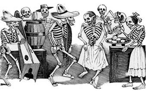 Ilustración sobre una celebración con las calaveras.